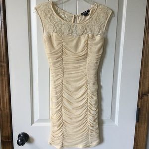 SEQUIN HEARTS Cream fitted dress